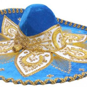 Adult Charro Hat Fancy Type, charrogoldblueadult