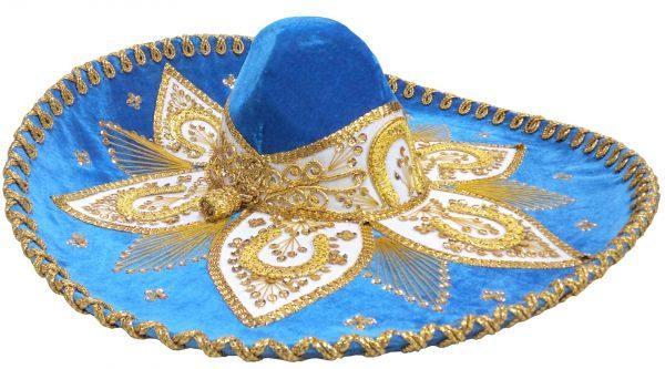 Adult Charro Hat Fancy Type, charrogoldblueadult