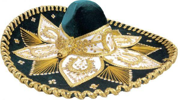 Adult Charro Hat Fancy Type, greenadultcharro_hat