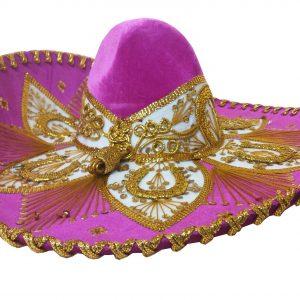 Adult Charro Hat Fancy Type, charrogoldpink_hat