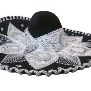 Adult Charro Hat Fancy Type, whiteblackcharro_hat