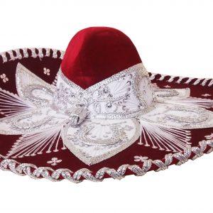 Adult Charro Hat Fancy Type, whiteredadult_charro